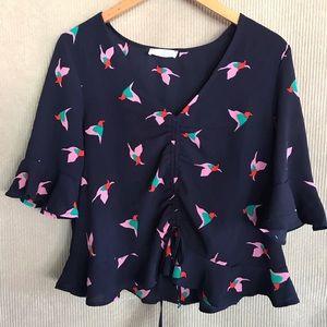 ELODIE bird print ruffle blouse